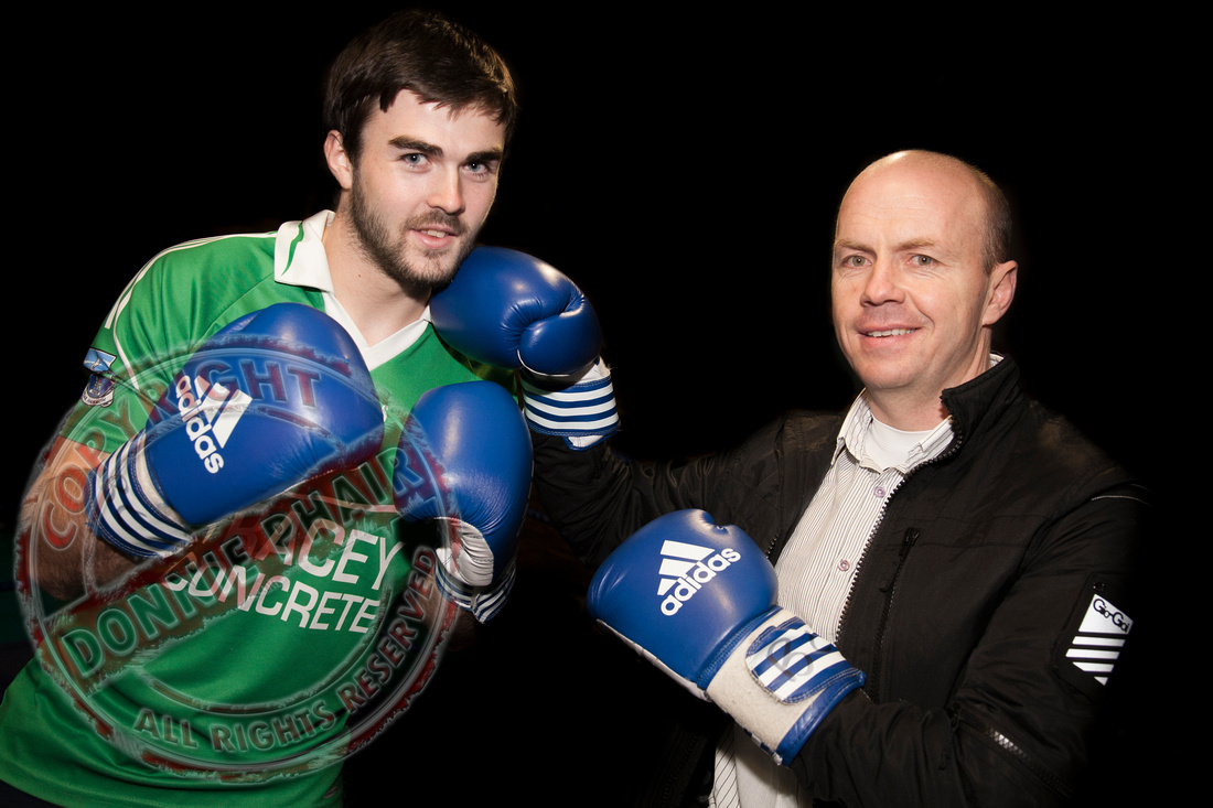 Fermanagh GAA PLayer Kane Connor and Fermanagh Manager Peter Canavan.